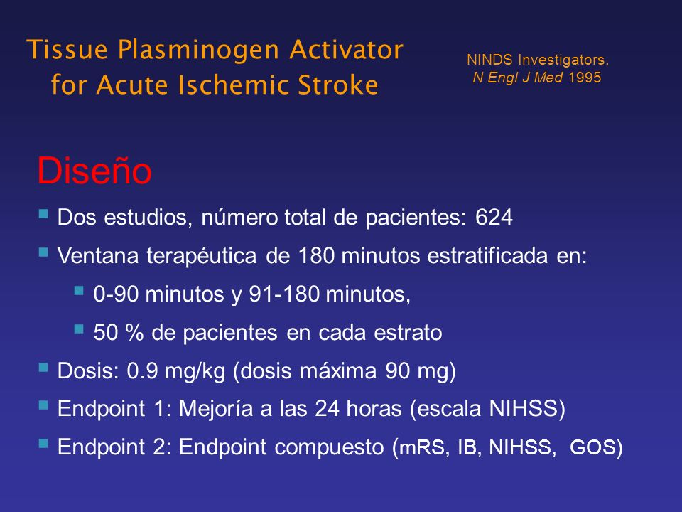 Diseño Dos estudios, número total de pacientes: 624 Ventana terapéutica de 180 minutos estratificada en: 0-90 minutos y 91-180 minutos, 50 % de pacien
