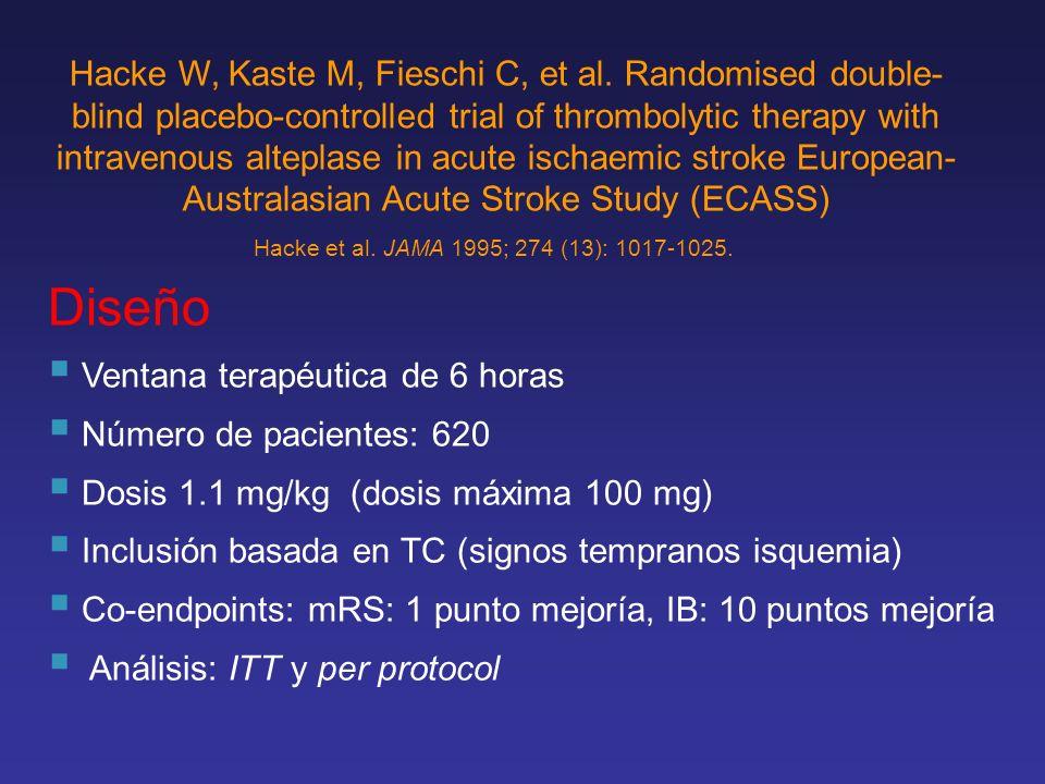 Diseño Ventana terapéutica de 6 horas Número de pacientes: 620 Dosis 1.1 mg/kg (dosis máxima 100 mg) Inclusión basada en TC (signos tempranos isquemia
