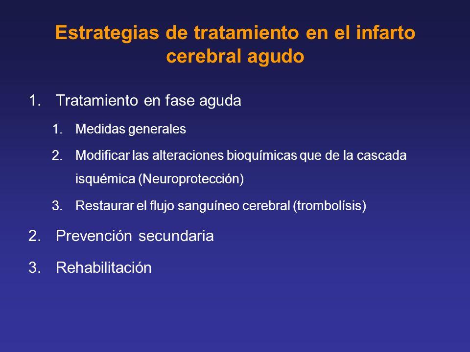 1.Tratamiento en fase aguda 1.Medidas generales 2.Modificar las alteraciones bioquímicas que de la cascada isquémica (Neuroprotección) 3.Restaurar el
