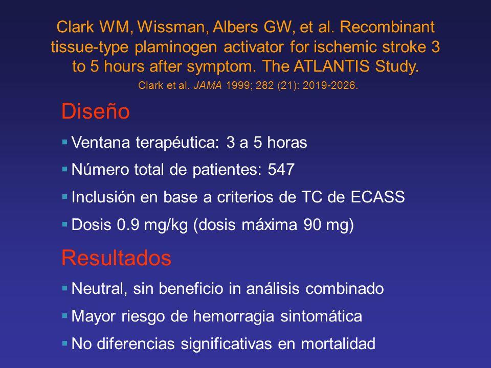 Diseño Ventana terapéutica: 3 a 5 horas Número total de patientes: 547 Inclusión en base a criterios de TC de ECASS Dosis 0.9 mg/kg (dosis máxima 90 m