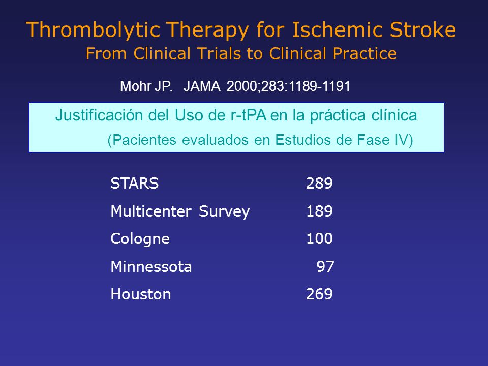 Thrombolytic Therapy for Ischemic Stroke From Clinical Trials to Clinical Practice Mohr JP. JAMA 2000;283:1189-1191 Justificación del Uso de r-tPA en
