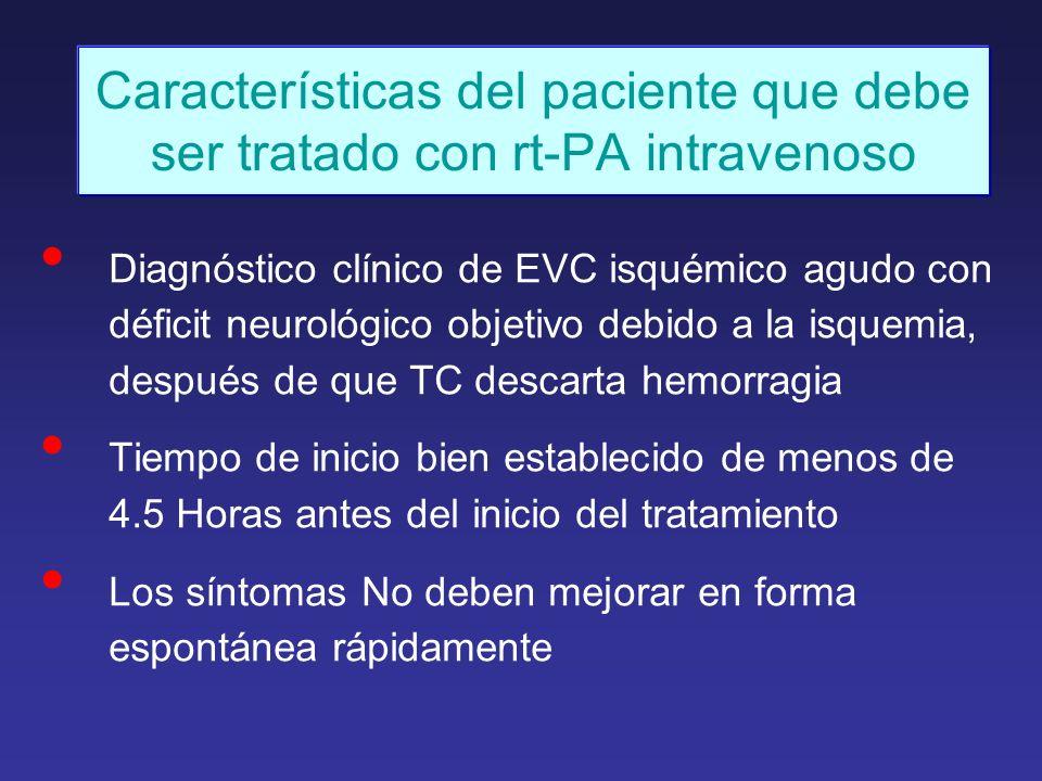 Características del paciente que debe ser tratado con rt-PA intravenoso Diagnóstico clínico de EVC isquémico agudo con déficit neurológico objetivo de