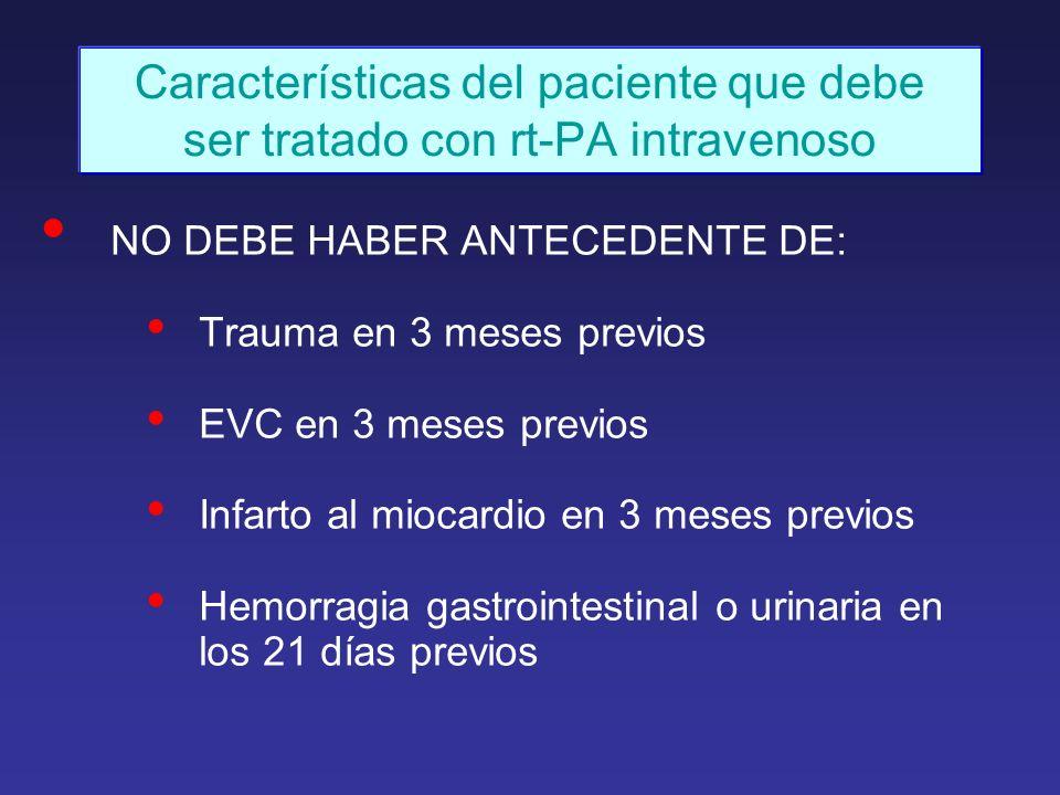 Características del paciente que debe ser tratado con rt-PA intravenoso NO DEBE HABER ANTECEDENTE DE: Trauma en 3 meses previos EVC en 3 meses previos