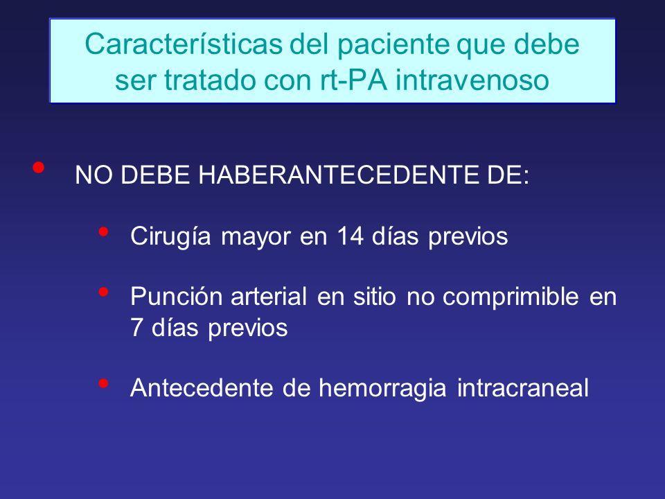 Características del paciente que debe ser tratado con rt-PA intravenoso NO DEBE HABERANTECEDENTE DE: Cirugía mayor en 14 días previos Punción arterial