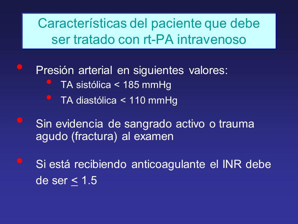 Características del paciente que debe ser tratado con rt-PA intravenoso Presión arterial en siguientes valores: TA sistólica < 185 mmHg TA diastólica