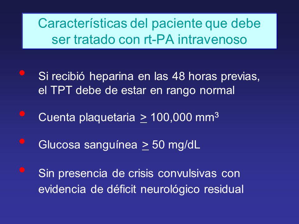 Características del paciente que debe ser tratado con rt-PA intravenoso Si recibió heparina en las 48 horas previas, el TPT debe de estar en rango nor