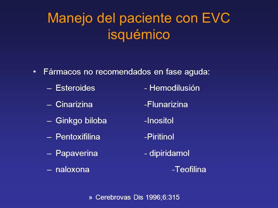 Manejo del paciente con EVC isquémico Fármacos no recomendados en fase aguda: –Esteroides- Hemodilusión –Cinarizina-Flunarizina –Ginkgo biloba-Inosito