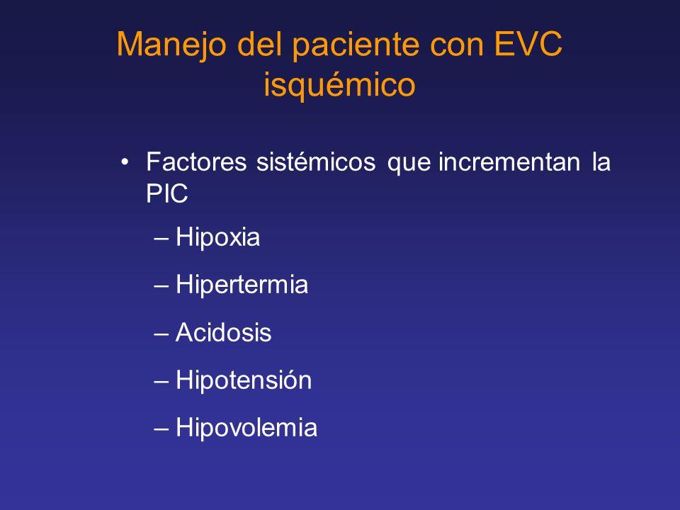 Manejo del paciente con EVC isquemico Manejo de la hipertensión intracraneal –Posición a 15-30º –Intubación si la escala de coma de Glasgow <8 –Hiperventilación a PaCo2, 30 mmHg –Terapia hiperosmolar con manitol 1 gr/kg/30´ cada 4 a 6 hrs –Restricción de líquidos, Usar soluciones salinas normales, mantener euvolemia.