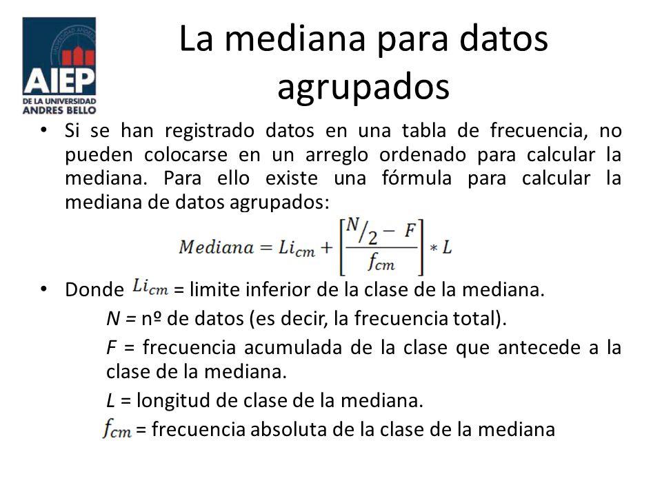La mediana para datos agrupados Si se han registrado datos en una tabla de frecuencia, no pueden colocarse en un arreglo ordenado para calcular la med