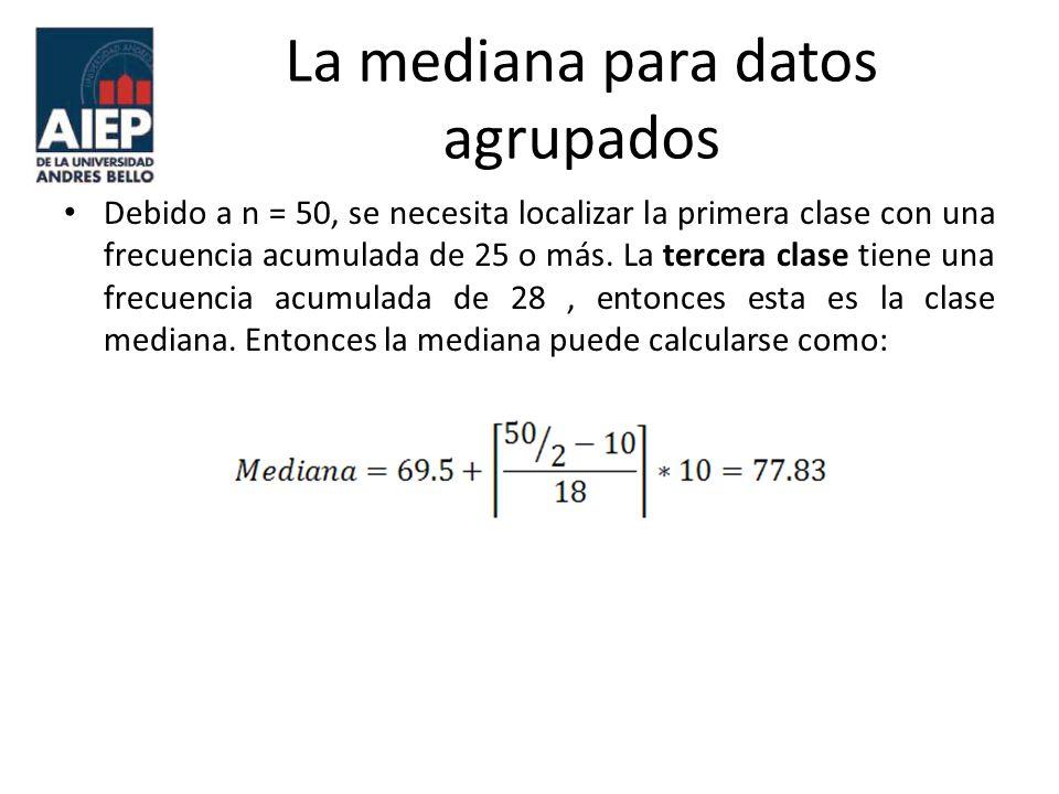 La mediana para datos agrupados Debido a n = 50, se necesita localizar la primera clase con una frecuencia acumulada de 25 o más. La tercera clase tie