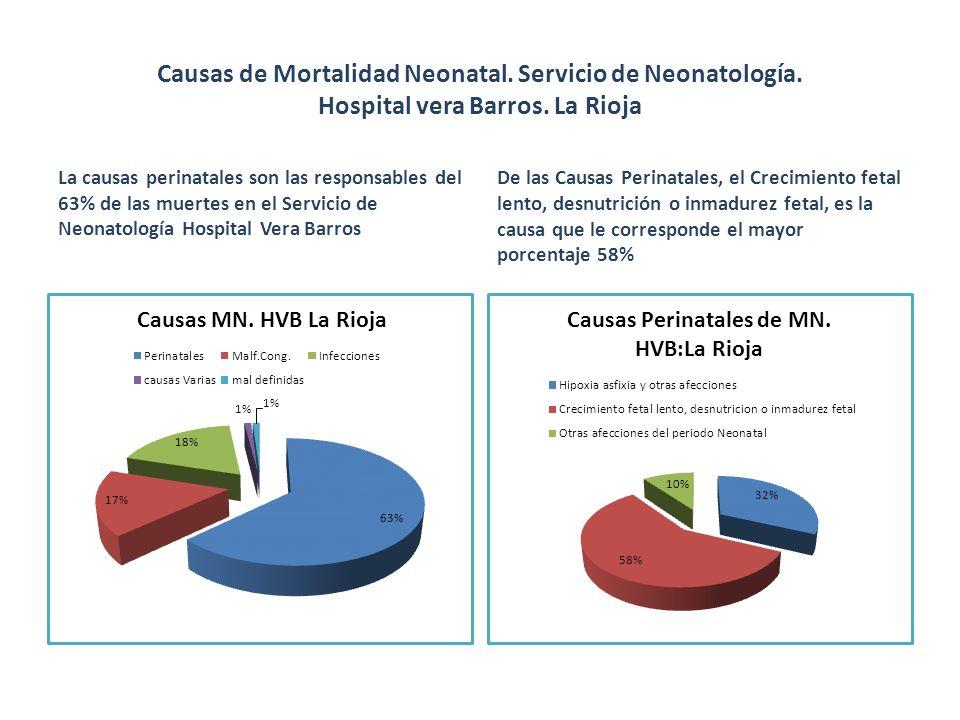 Causas de Mortalidad Neonatal. Servicio de Neonatología. Hospital vera Barros. La Rioja La causas perinatales son las responsables del 63% de las muer