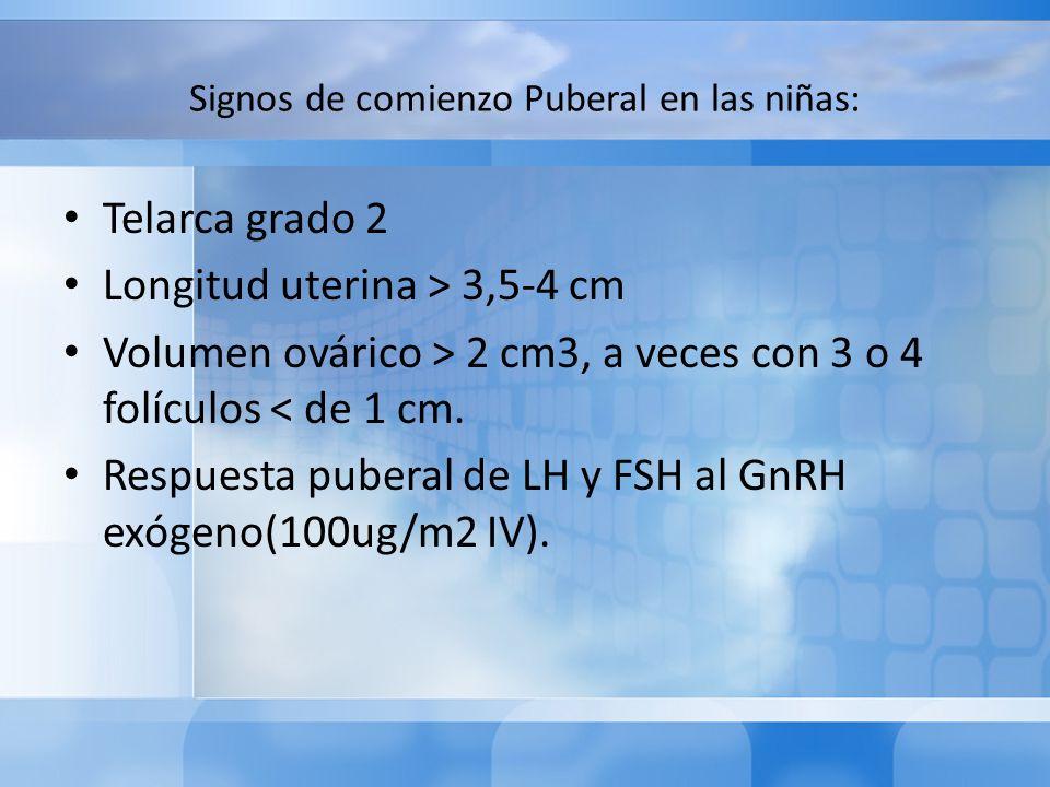 Signos de comienzo Puberal en las niñas: Telarca grado 2 Longitud uterina > 3,5-4 cm Volumen ovárico > 2 cm3, a veces con 3 o 4 folículos < de 1 cm. R