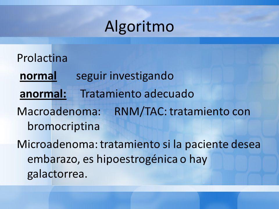 Algoritmo Prolactina normal seguir investigando anormal: Tratamiento adecuado Macroadenoma: RNM/TAC: tratamiento con bromocriptina Microadenoma: trata