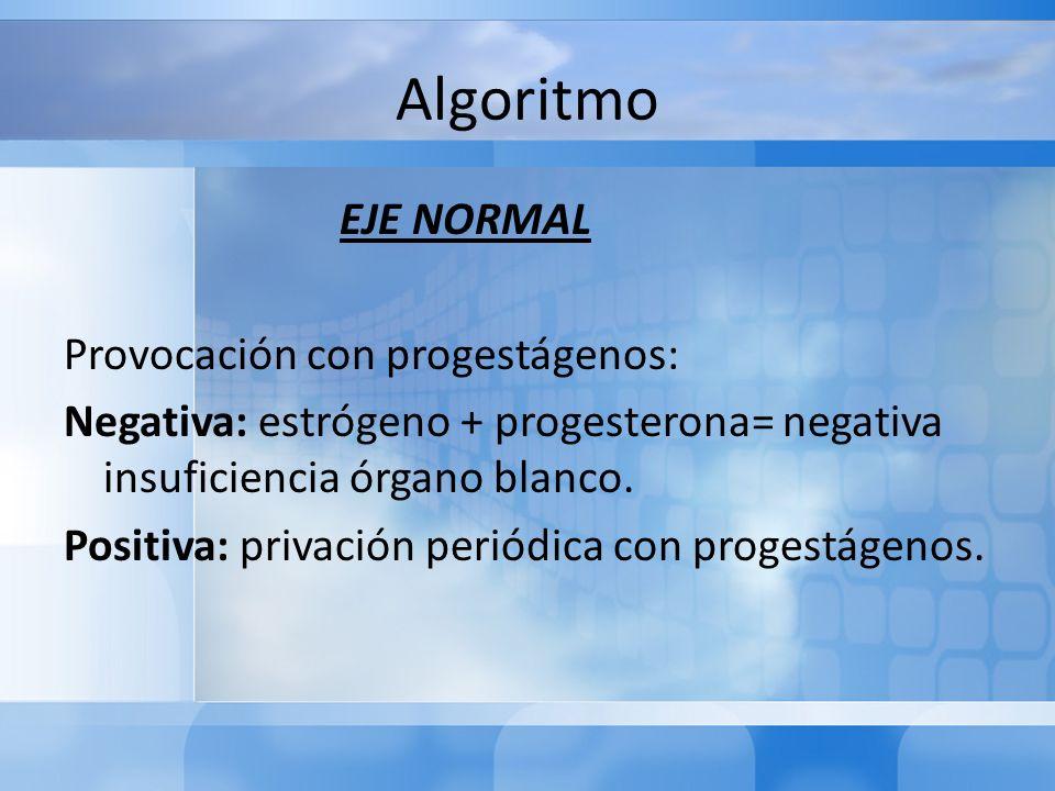 Algoritmo EJE NORMAL Provocación con progestágenos: Negativa: estrógeno + progesterona= negativa insuficiencia órgano blanco. Positiva: privación peri