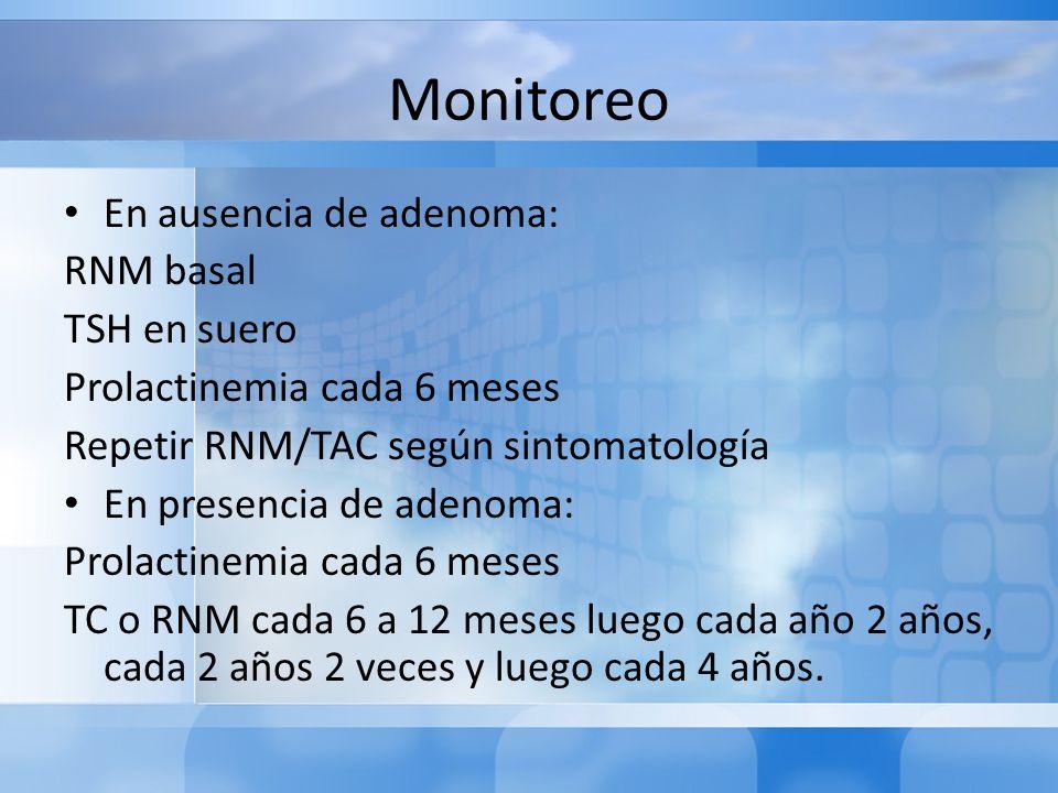 Monitoreo En ausencia de adenoma: RNM basal TSH en suero Prolactinemia cada 6 meses Repetir RNM/TAC según sintomatología En presencia de adenoma: Prol