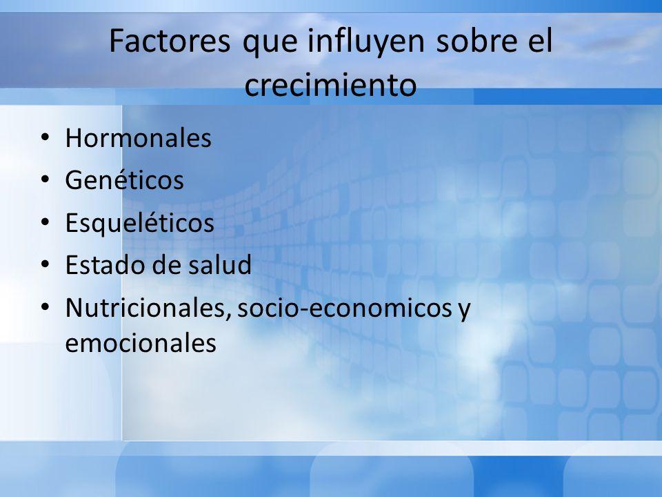 Factores que influyen sobre el crecimiento Hormonales Genéticos Esqueléticos Estado de salud Nutricionales, socio-economicos y emocionales