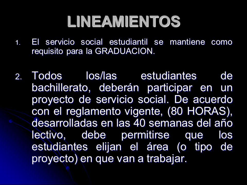 LINEAMIENTOS 1. El servicio social estudiantil se mantiene como requisito para la GRADUACION. 2. Todos los/las estudiantes de bachillerato, deberán pa