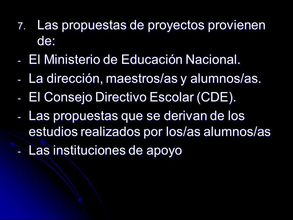 7. Las propuestas de proyectos provienen de: - El Ministerio de Educación Nacional. - La dirección, maestros/as y alumnos/as. - El Consejo Directivo E