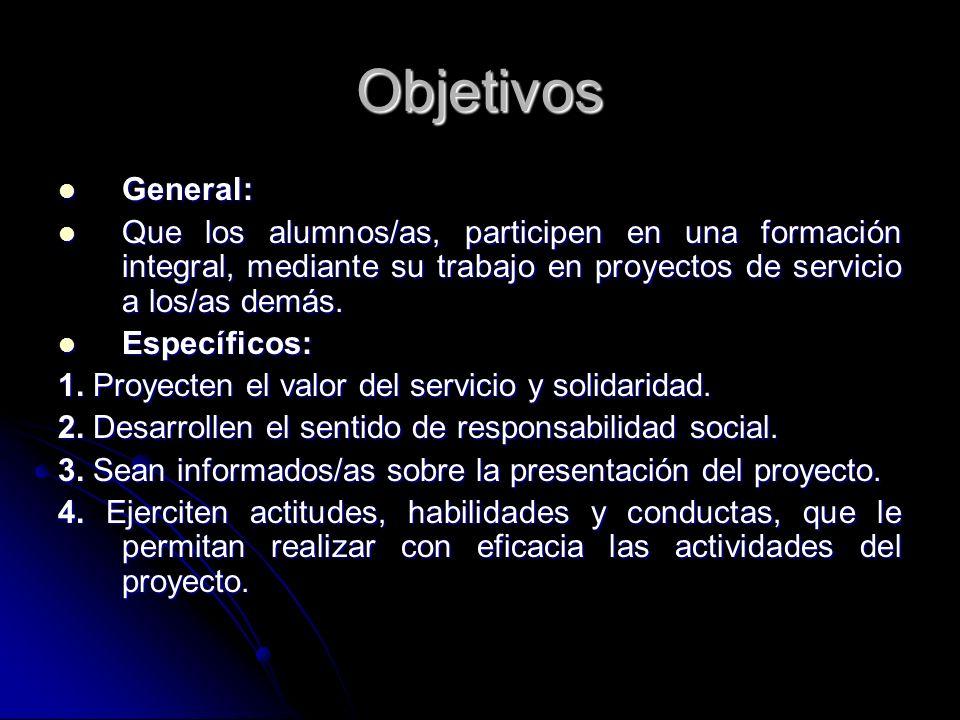 Objetivos General: General: Que los alumnos/as, participen en una formación integral, mediante su trabajo en proyectos de servicio a los/as demás. Que