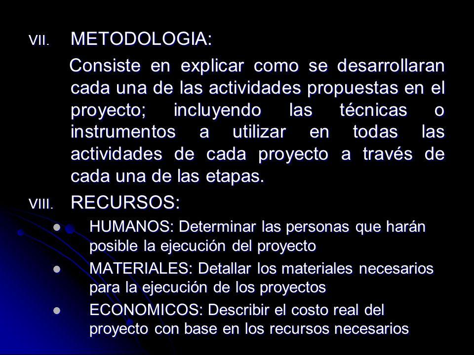 VII. METODOLOGIA: Consiste en explicar como se desarrollaran cada una de las actividades propuestas en el proyecto; incluyendo las técnicas o instrume