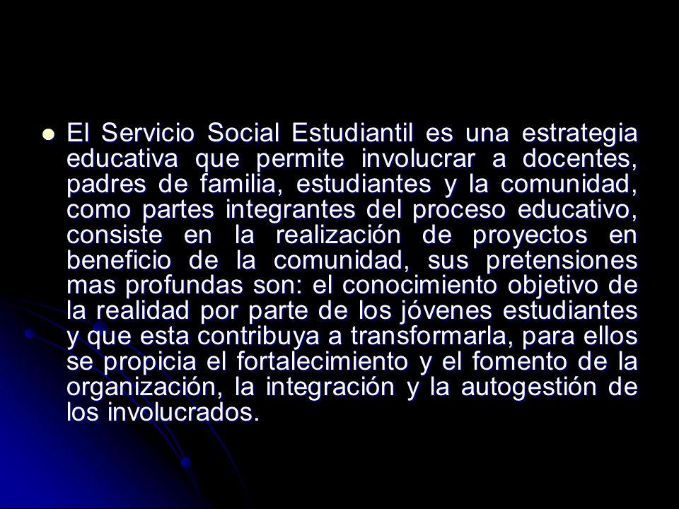 El Servicio Social Estudiantil es una estrategia educativa que permite involucrar a docentes, padres de familia, estudiantes y la comunidad, como part