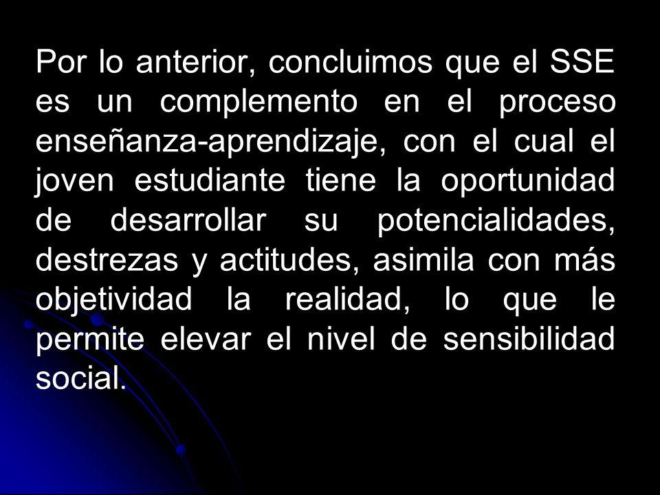 . Por lo anterior, concluimos que el SSE es un complemento en el proceso enseñanza-aprendizaje, con el cual el joven estudiante tiene la oportunidad d
