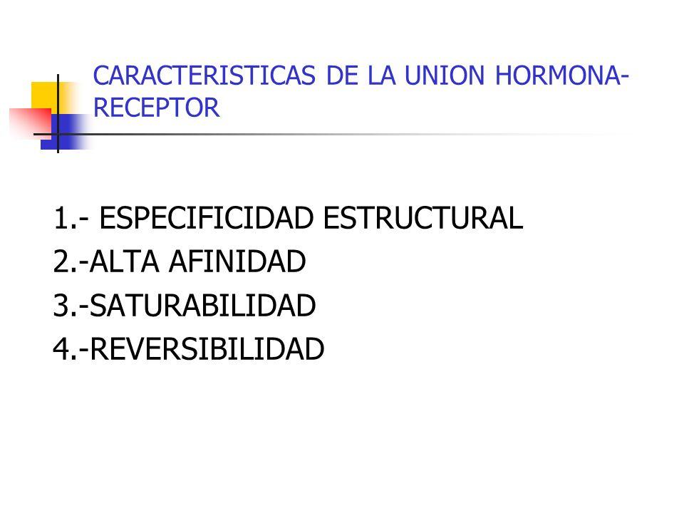 CARACTERISTICAS DE LA UNION HORMONA- RECEPTOR 1.- ESPECIFICIDAD ESTRUCTURAL 2.-ALTA AFINIDAD 3.-SATURABILIDAD 4.-REVERSIBILIDAD