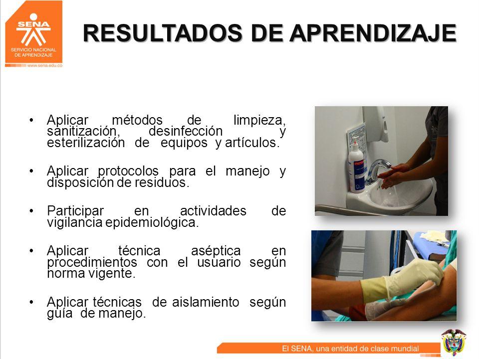RESULTADOS DE APRENDIZAJE Aplicar métodos de limpieza, sanitización, desinfección y esterilización de equipos y artículos. Aplicar protocolos para el