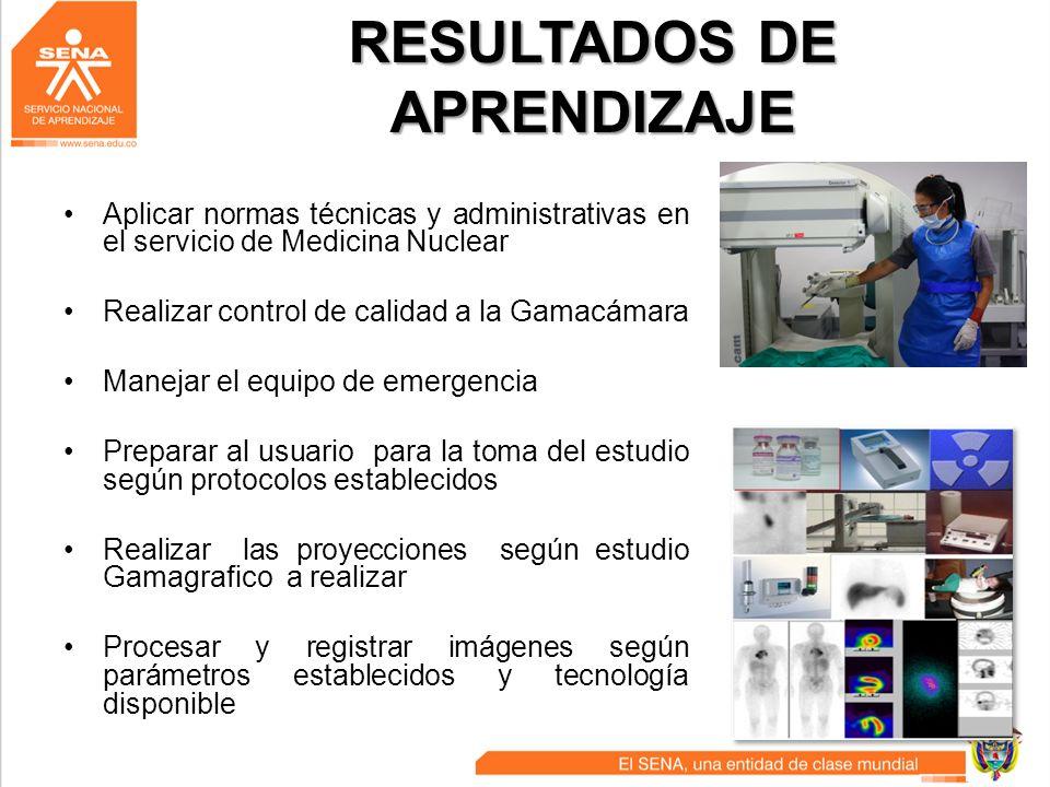 RESULTADOS DE APRENDIZAJE Aplicar normas técnicas y administrativas en el servicio de Medicina Nuclear Realizar control de calidad a la Gamacámara Man