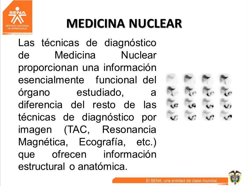 MEDICINA NUCLEAR Desde el punto de vista terapéutico, tiene sus principales aplicaciones en el cáncer de tiroides, el hipertiroidismo y el tratamiento paliativo del dolor óseo de origen metastásico de algunos y determinados cánceres