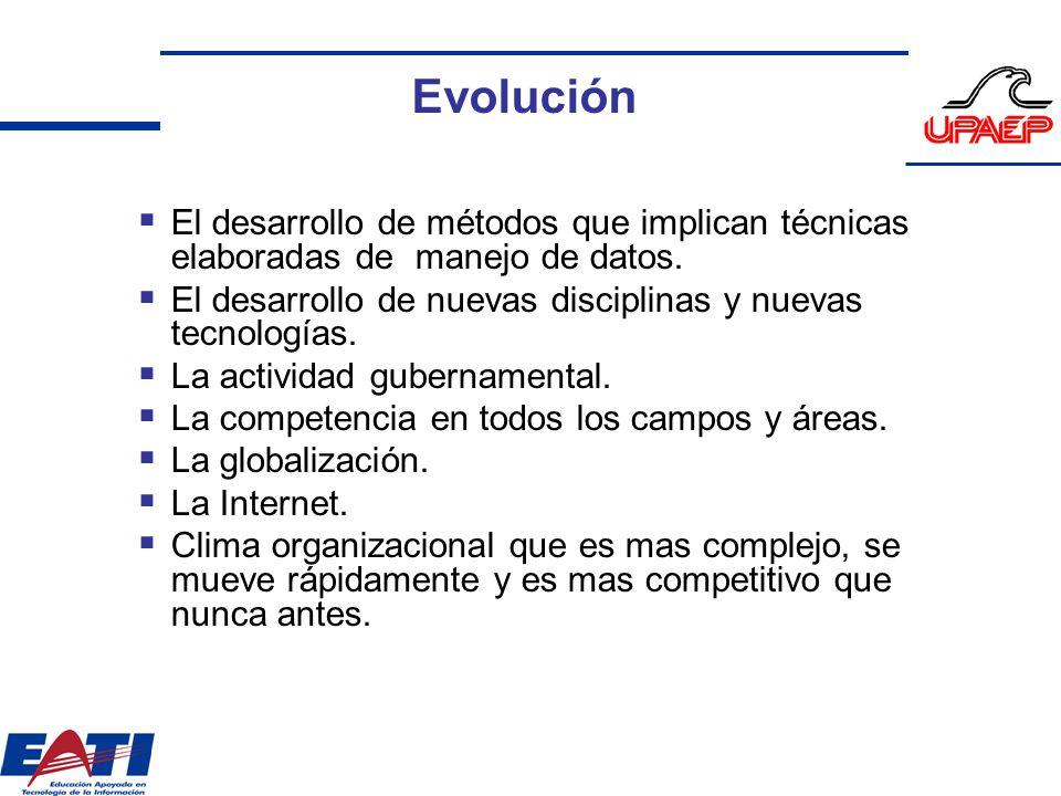Evolución El desarrollo de métodos que implican técnicas elaboradas de manejo de datos. El desarrollo de nuevas disciplinas y nuevas tecnologías. La a