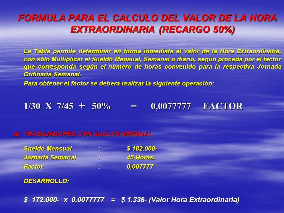 FORMULA PARA EL CALCULO DEL VALOR DE LA HORA EXTRAORDINARIA (RECARGO 50%) La Tabla permite determinar en forma inmediata el valor de la Hora Extraordi