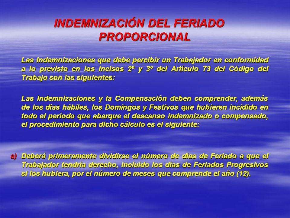 INDEMNIZACIÓN DEL FERIADO PROPORCIONAL Las Indemnizaciones que debe percibir un Trabajador en conformidad a lo previsto en los Incisos 2º y 3º del Art