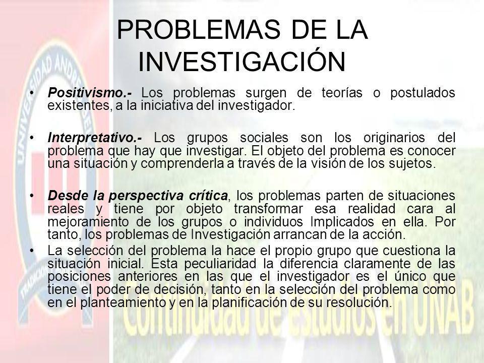 PROBLEMAS DE LA INVESTIGACIÓN Positivismo.- Los problemas surgen de teorías o postulados existentes, a la iniciativa del investigador. Interpretativo.