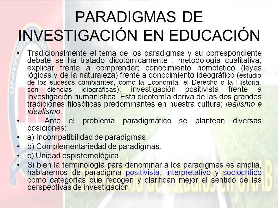 PARADIGMAS DE INVESTIGACIÓN EN EDUCACIÓN Tradicionalmente el tema de los paradigmas y su correspondiente debate se ha tratado dicotómicamente : metodo