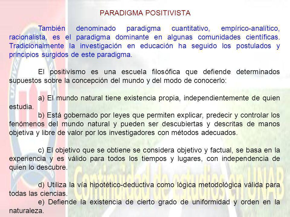 PARADIGMA POSITIVISTA También denominado paradigma cuantitativo, empírico-analítico, racionalista, es el paradigma dominante en algunas comunidades ci