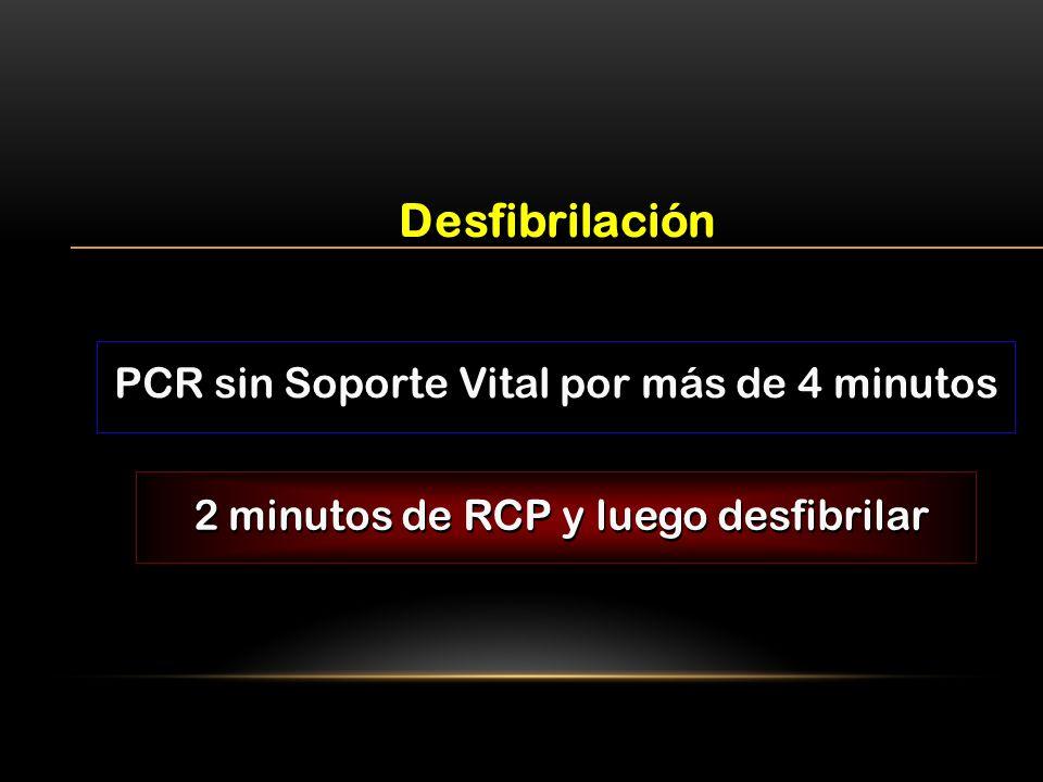 PCR sin Soporte Vital por más de 4 minutos 2 minutos de RCP y luego desfibrilar Desfibrilación