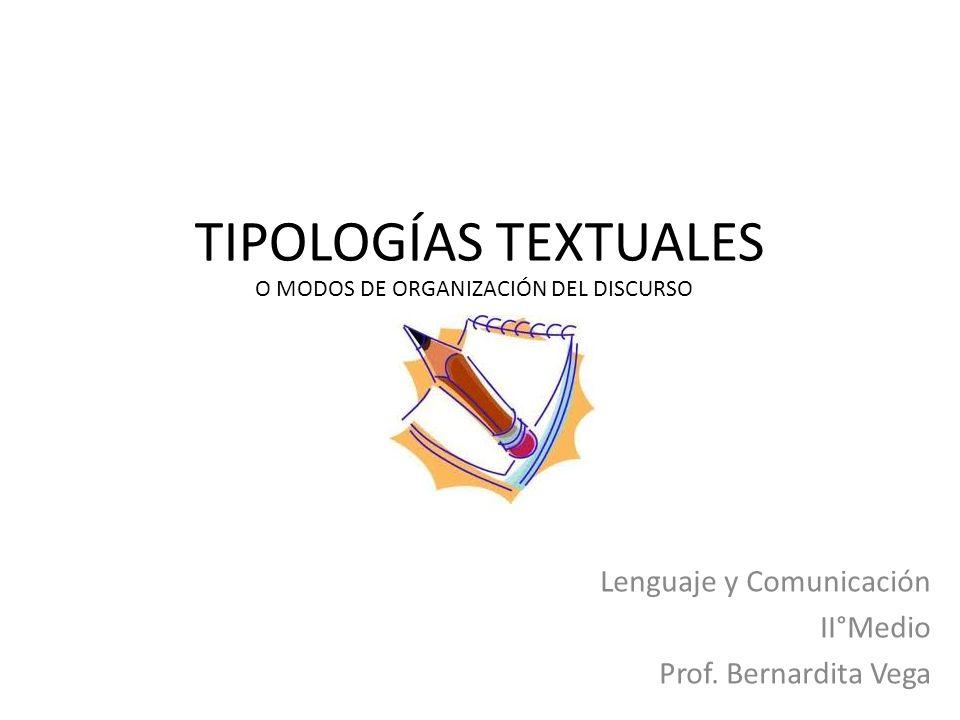 TIPOLOGÍAS TEXTUALES Lenguaje y Comunicación II°Medio Prof. Bernardita Vega O MODOS DE ORGANIZACIÓN DEL DISCURSO