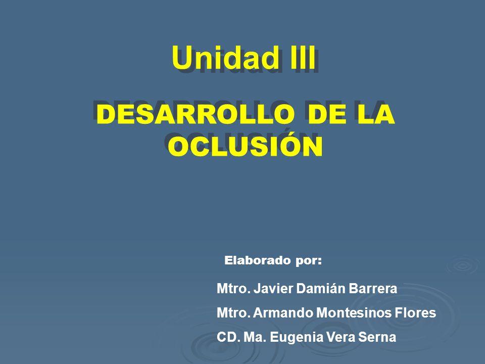 DESARROLLO DE LA OCLUSIÓN DESARROLLO DE LA OCLUSIÓN Unidad III Mtro. Javier Damián Barrera Mtro. Armando Montesinos Flores CD. Ma. Eugenia Vera Serna