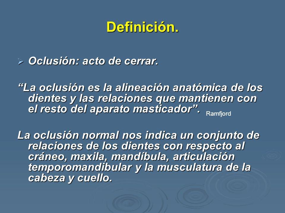 Definición. Oclusión: acto de cerrar. Oclusión: acto de cerrar. La oclusión es la alineación anatómica de los dientes y las relaciones que mantienen c