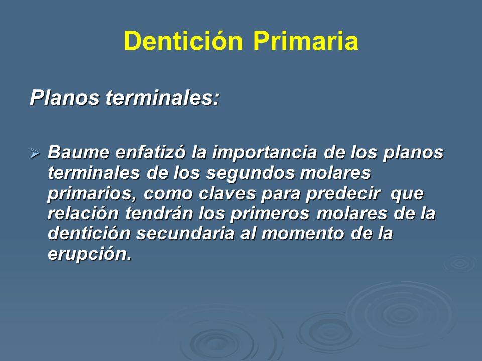 Dentición Primaria Planos terminales: Baume enfatizó la importancia de los planos terminales de los segundos molares primarios, como claves para prede