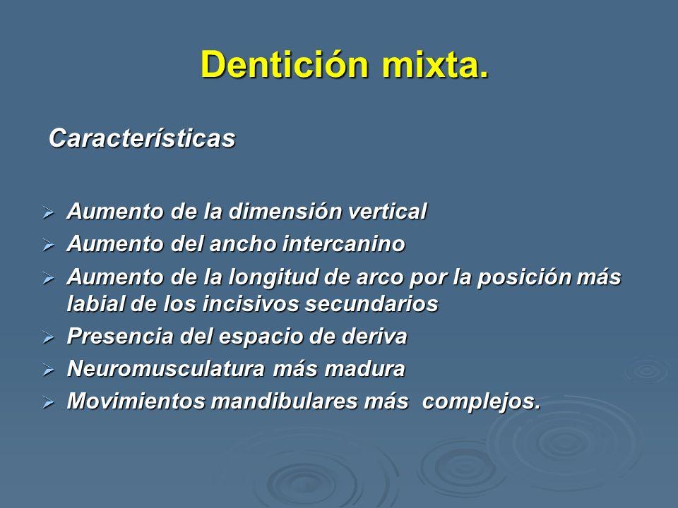 Dentición mixta. Dentición mixta. Características Características Aumento de la dimensión vertical Aumento de la dimensión vertical Aumento del ancho