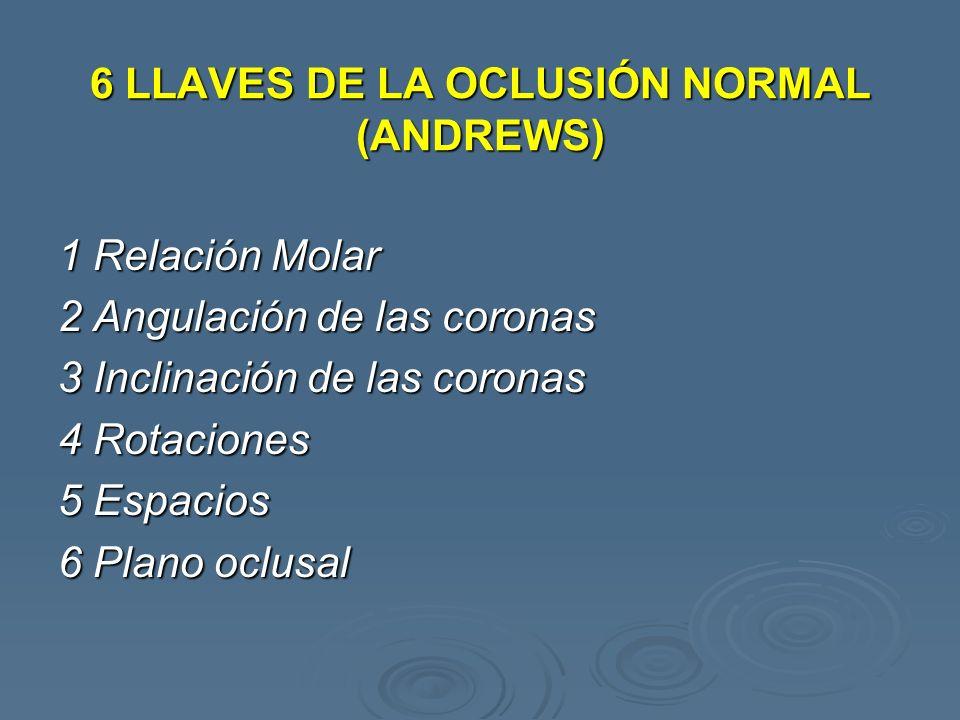 6 LLAVES DE LA OCLUSIÓN NORMAL (ANDREWS) 1 Relación Molar 2 Angulación de las coronas 3 Inclinación de las coronas 4 Rotaciones 5 Espacios 6 Plano ocl