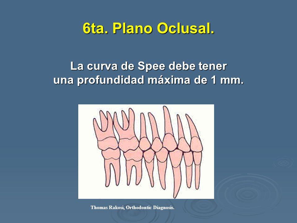 6ta. Plano Oclusal. La curva de Spee debe tener una profundidad máxima de 1 mm. Thomas Rakosi, Orthodontic Diagnosis.