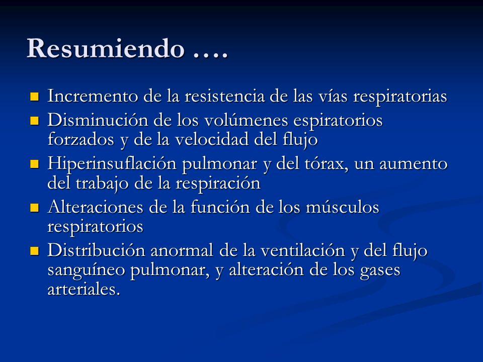 Resumiendo …. Incremento de la resistencia de las vías respiratorias Incremento de la resistencia de las vías respiratorias Disminución de los volúmen