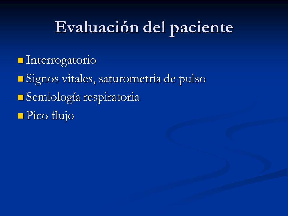 Evaluación del paciente Interrogatorio Interrogatorio Signos vitales, saturometria de pulso Signos vitales, saturometria de pulso Semiología respirato