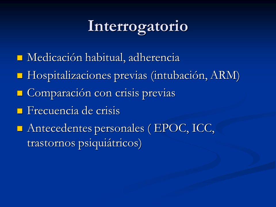 Interrogatorio Medicación habitual, adherencia Medicación habitual, adherencia Hospitalizaciones previas (intubación, ARM) Hospitalizaciones previas (