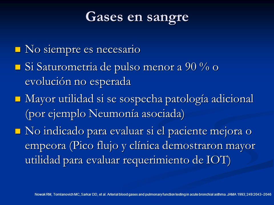 Gases en sangre No siempre es necesario No siempre es necesario Si Saturometria de pulso menor a 90 % o evolución no esperada Si Saturometria de pulso