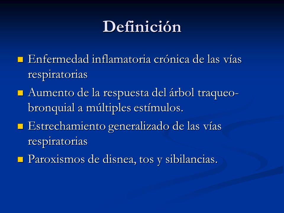 Definición Enfermedad inflamatoria crónica de las vías respiratorias Enfermedad inflamatoria crónica de las vías respiratorias Aumento de la respuesta