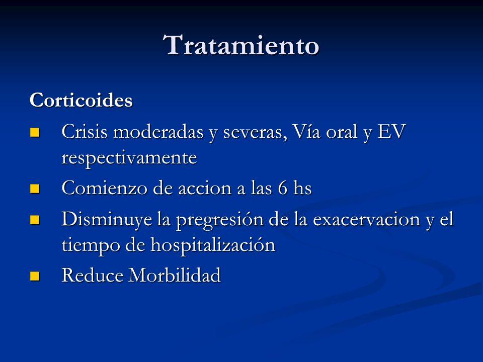 Tratamiento Corticoides Crisis moderadas y severas, Vía oral y EV respectivamente Crisis moderadas y severas, Vía oral y EV respectivamente Comienzo d